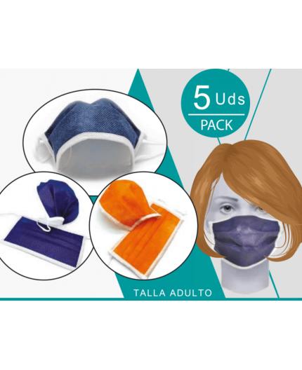 Mascarilla 3 Capas Reutilizable - Color Naranja